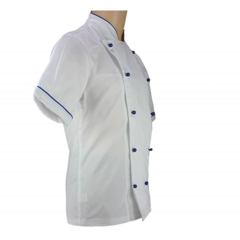 Veste de p tissier blanche avec liser bleu france lisavet for Veste de cuisine homme brode