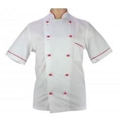 Veste de pâtissier blanche liseré rouge