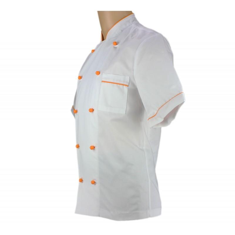 Veste de pâtissier blanche avec un liseré orange - LISAVET