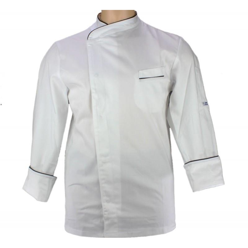Veste de cuisinier blanche pour homme liser noir lisavet - Veste de cuisine homme brode ...