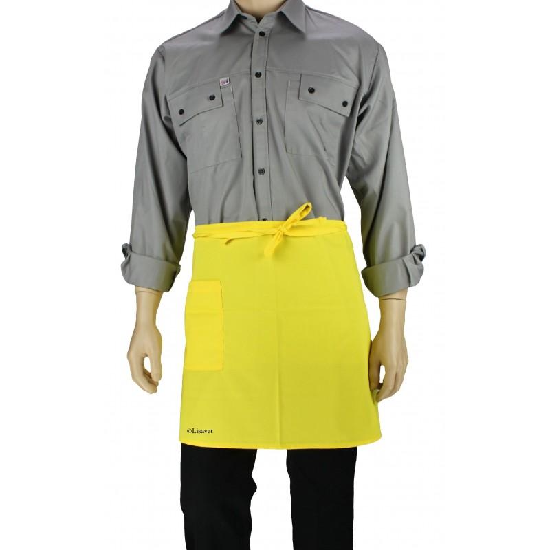 Tablier de cuisine la taille couleur jaune uni lisavet for Tablier de cuisine uni