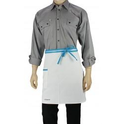 Tablier de cuisine blanc liseré bleu turquoise