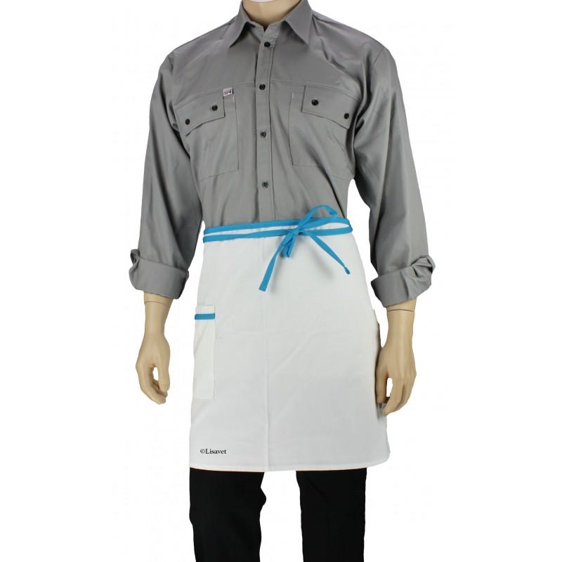 Bon Tablier De Cuisine Blanc Liseré Bleu Turquoise