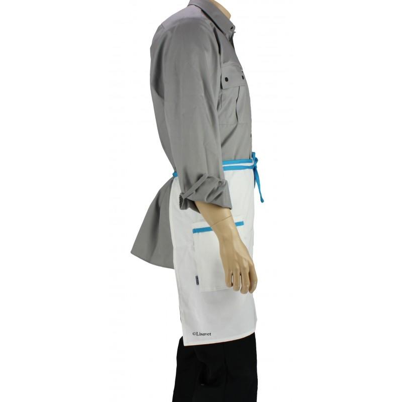 tablier de cuisine taille blanc liser bleu turquoise lisavet. Black Bedroom Furniture Sets. Home Design Ideas