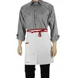 Tablier de cuisine blanc liseré rouge