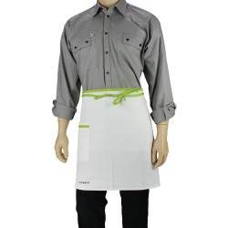 Tablier de cuisine blanc liseré vert anis