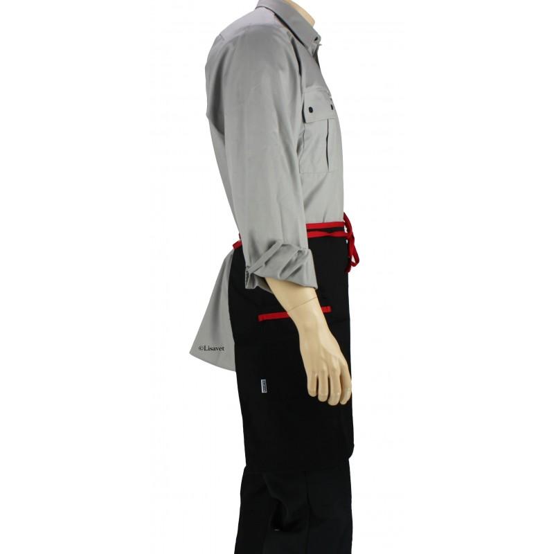 Tablier de cuisine la taille noir avec liser rouge for Pantalon de cuisine noir