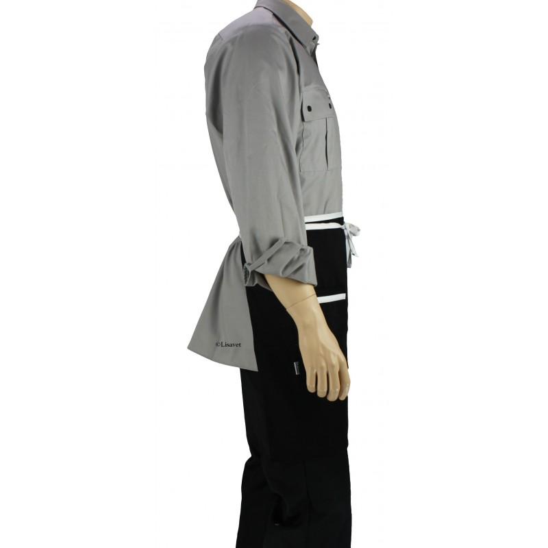 Tablier de cuisine la taille noir avec liser blanc for Pantalon de cuisine noir