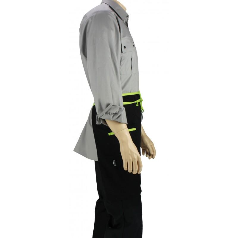 Tablier de cuisine la taille noir liser vert anis for Pantalon de cuisine noir