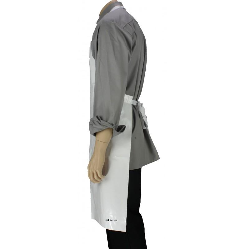 tablier bavette de protection toile cir blanc lisavet. Black Bedroom Furniture Sets. Home Design Ideas