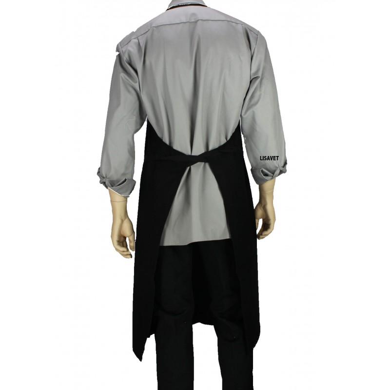 tablier de cuisine bavette noir en coton bachette lisavet. Black Bedroom Furniture Sets. Home Design Ideas