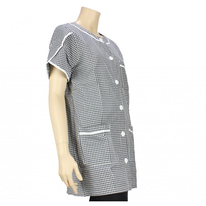 blouse de travail femme de m nage vichy noir et blanc pas. Black Bedroom Furniture Sets. Home Design Ideas