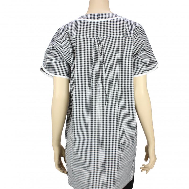 blouse de travail femme de m nage vichy noir et blanc pas cher lisavet. Black Bedroom Furniture Sets. Home Design Ideas