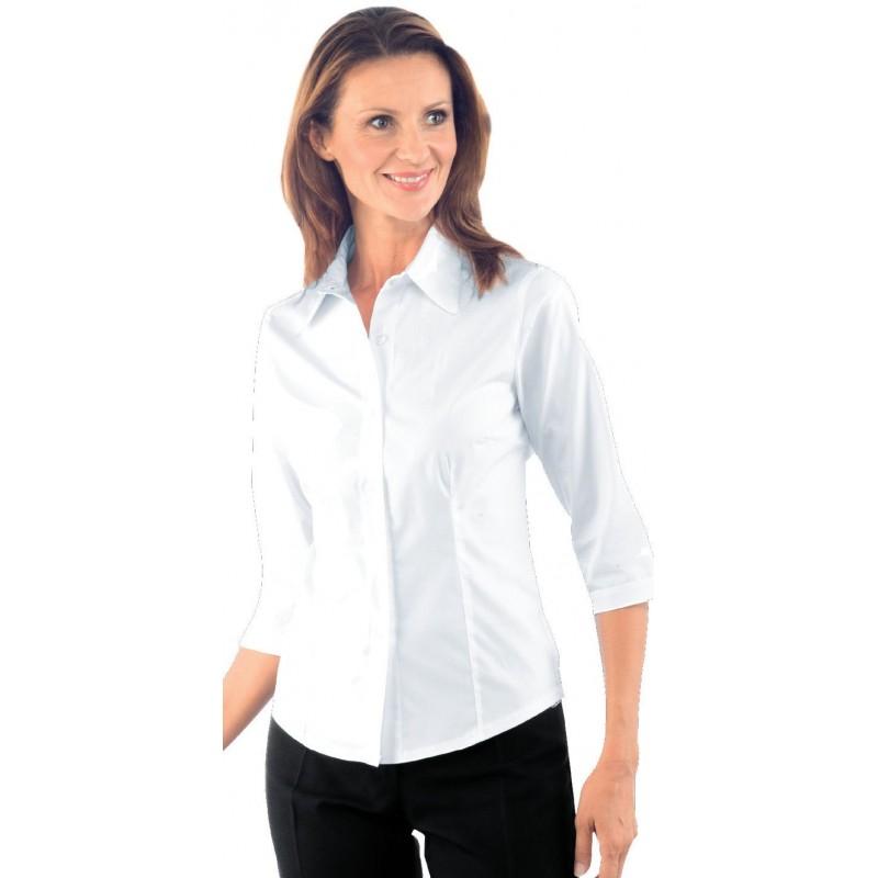 CHEMISE DE SERVICE BLANCHE MANCHES 3 4 TENERIF FEMME ISACCO 025420 838ed0330915